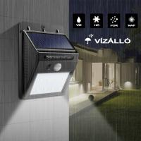 Vezeték Nélküli, Mozgásérzékelős, Napelemes LED Fali Fény