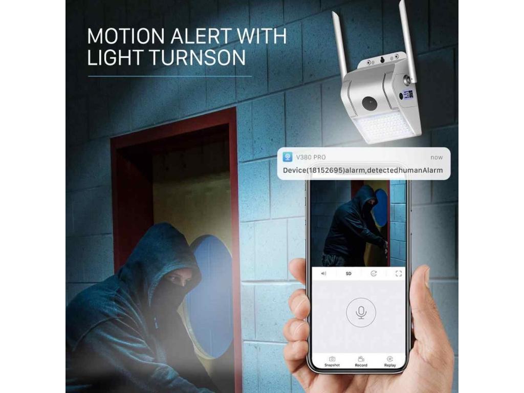 Falra Rögzíthető Biztonsági Kamera LED Lámpával
